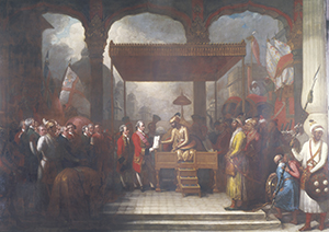 Shah 'Alam (Mughal Emperor 1759-1806) conveying the grant of the Diwani to Lord Clive, August 1765. The grant of Diwani rights gave the East India Company the power to collect taxes on behalf of the Emperor from the eastern province of Bengal-Bihar-Orissa. The agreement marked the beginnings of British rule in India, which would be accompanied by the right of appeal to the JCPC. © The British Library Board