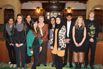 Jenny Rowe, Raj Ghale and a group of sixth form law students from Joseph Leckie Academy, Walsall